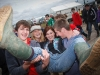 Amy Roulston, Stephen Hayes, Jake Thornton and Tori Berber hold up Leanne McNamara from Ballybrittas with her college friends down from Dublin at the National Ploughing Championships which is being held in Athy. Picture: Jeff Harvey/HR Photo