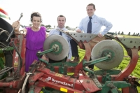 NPA assistant managing director Anna May McHugh with Paraic McCarthy and Martin Minchin, Kverneland on site at Heathpark, New Ross where the National Ploughing Championships will be held Tuesday 25th-Thursday 27th September.Picture: Alf Harvey.