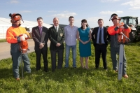 Joe Kavanagh FBD; James Sutton, NPA chairman; Brendan Kehoe and Louise O'Dwyer site owners and Fergal O'Neill, Husqvarna flanked by Mike Birchill and Kevin Birchill on site at Heathpark, New Ross where the National Ploughing Championships will be held Tuesday 25th-Thursday 27th September.Picture: Alf Harvey.